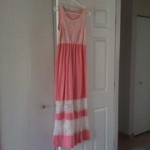 White & pink long summer dress